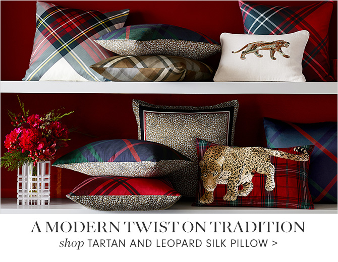 A MODERN TWIST ON TRADITION - shop TARTAN AND LEOPARD SILK PILLOW