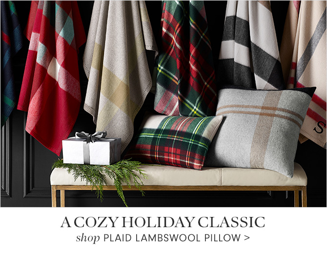 A COZY HOLIDAY CLASSIC - shop PLAID LAMBSWOOL PILLOW