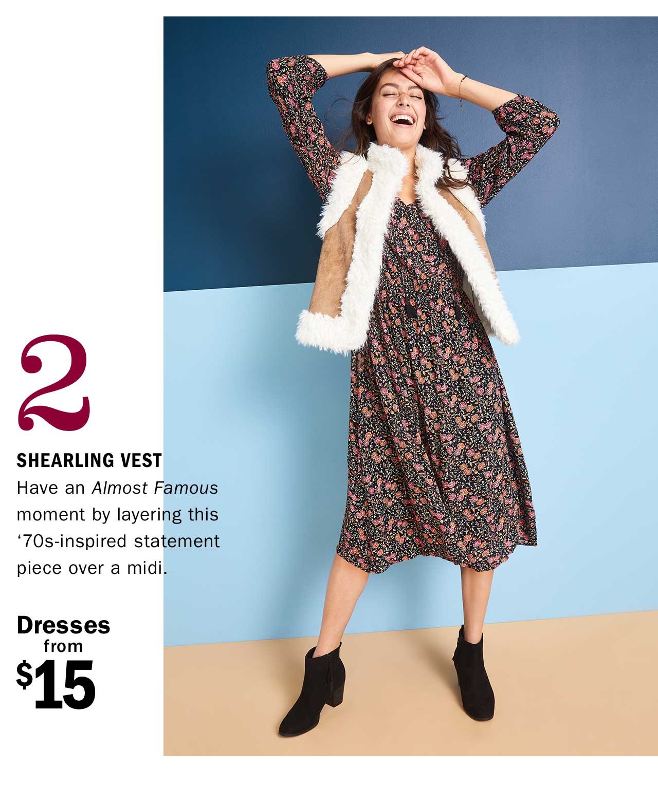 2 SHEARLING VEST | Dresses from $15