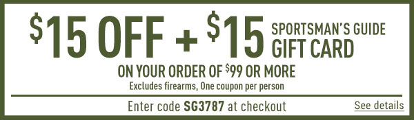One Day Only! Get $15 off + $15 Gift Card on $99 Minimum! Enter coupon code SG3787 at check-out. *Exclusions Apply.