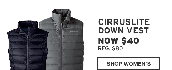 50% CIRRUSLITE OUTERWEAR | SHOP WOMEN'S DOWN VEST