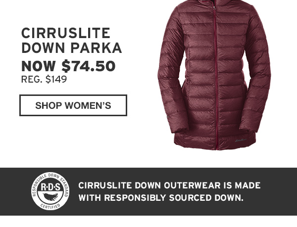 50% CIRRUSLITE OUTERWEAR | SHOP WOMEN'S DOWN PARKA