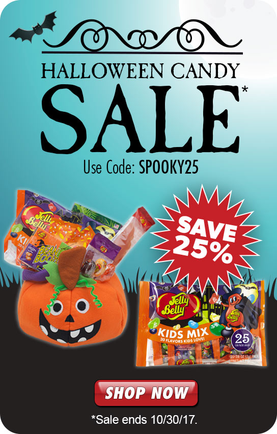 use code SPOOKY25 and save 25% on Jelly Belly Halloween Candy. Sale ends October 30, 2017