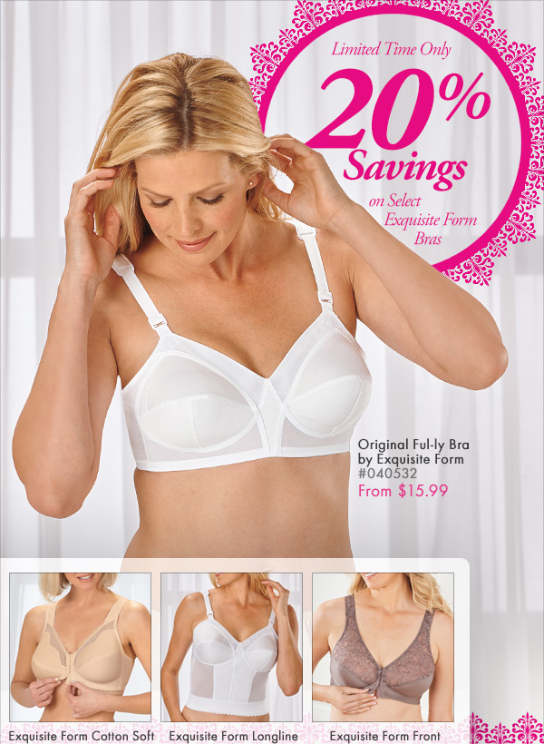 Save 20% off Select Exquisite Form Bras and Get FREE SHIPPING