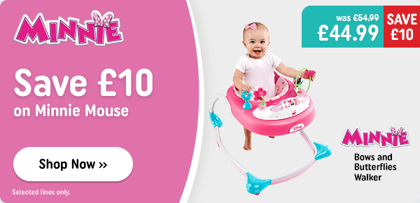 Save £10 on Minnie Mouse main item on the panel: Minnie Mouse Bows and Butterflies Walker