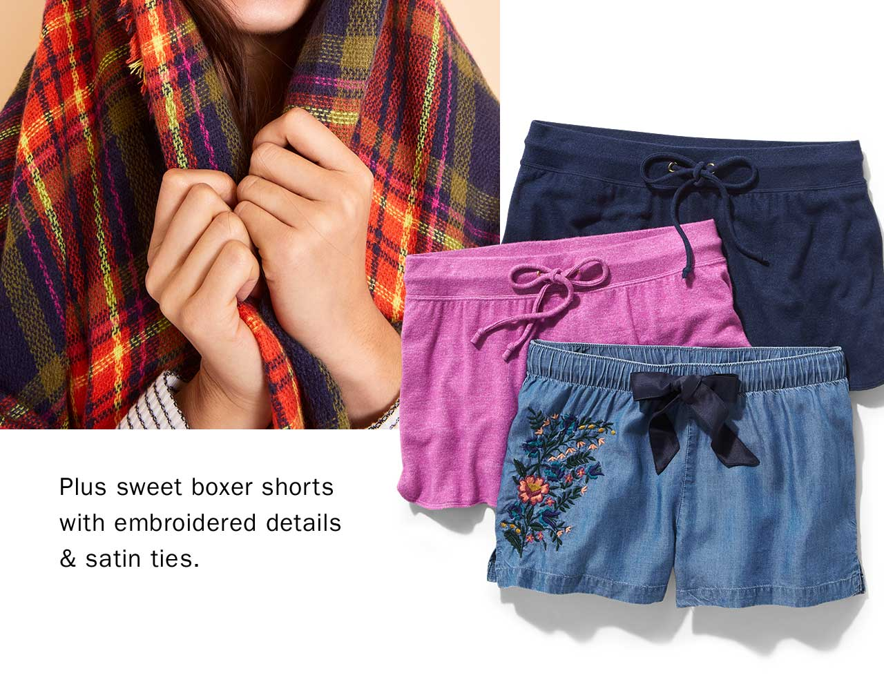 Plus sweet boxer shorts with embroidered details & satin ties.