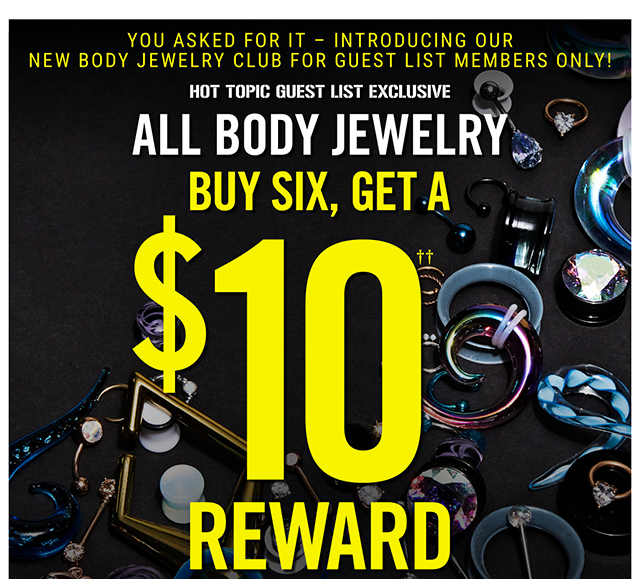 Body Jewelry Buy Six, Get a $10 Reward