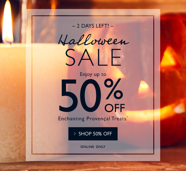 2 Days Left! Halloween Sale up to 50% OFF. SHOP NOW.