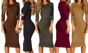 Women's 3/4-Sleeve Midi Bodycon Dress - Plus-Sizes Included