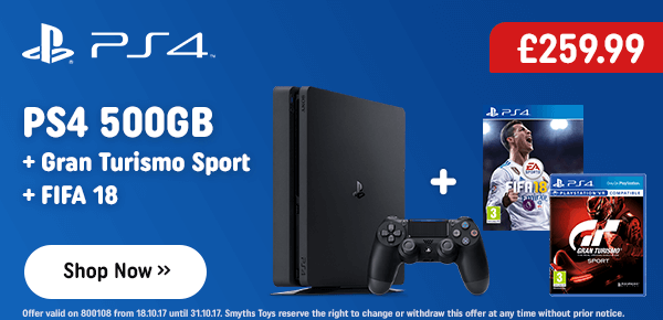 PS4 500GB FIFA 18 Console Pack with Gran Turismo Sport
