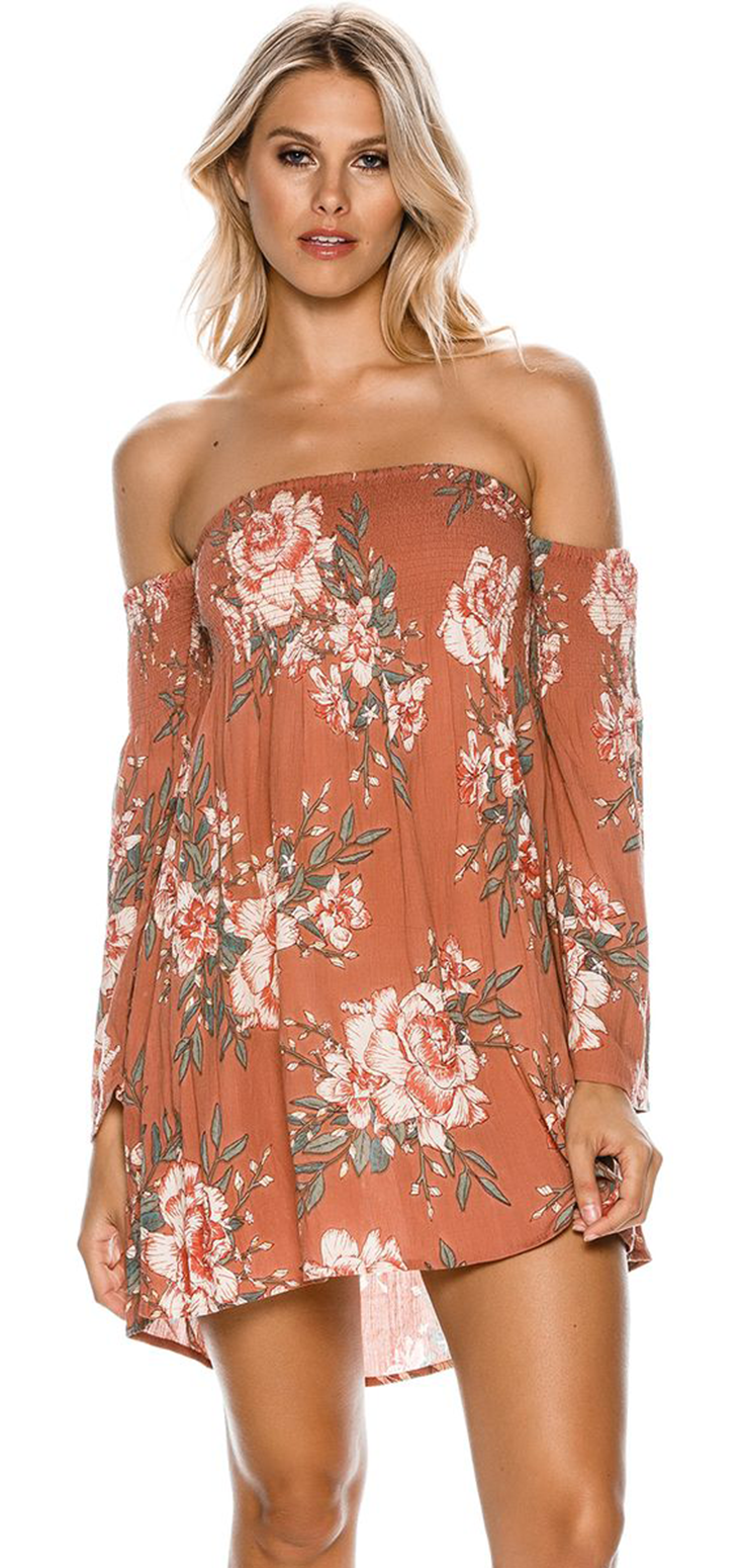 BILLABONG NIGHT FOX OFF SHOULDER DRESS