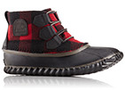Close-up of a women's Out 'N About Boot featuring a red and black buffalo check design.