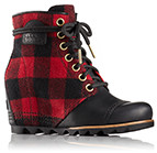Close-up of a women's PDX Wedge Boot featuring a red and black buffalo check design.