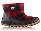 Close-up of a women's Whitney Camp Boot featuring a red and black buffalo check design.