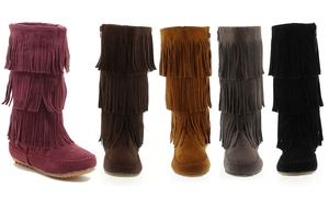 Women's Three-Layer Fringe Boots