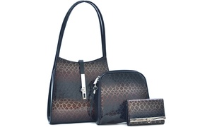 MMK Collection Women's 3-in-1 Classic Hobo Bag and Wallet Set