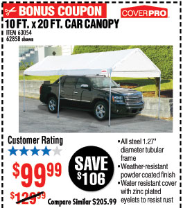 10 ft. x 20 ft. Portable Car Canopy  sc 1 st  Milled : harbor freight 10 x 20 canopy - memphite.com