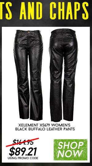 Shop Xelement XS679 Women's Black Buffalo Leather Pants