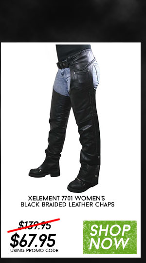 Shop https://www.leatherup.com/p/Womens-Motorcycle-Pants-and-Chaps/Xelement-7701-Womens-Black-Braided-Leather-Chaps/41352.html