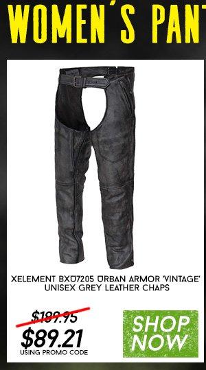 Shop Xelement BXU7205 Urban Armor 'Vintage' Unisex Grey Leather Chaps