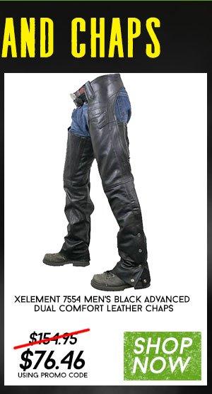 Shop Xelement 7554 Men's Black Leather Pants