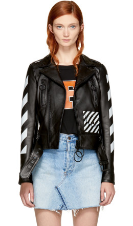 Off-White - Black Leather 'Woman' Diagonal Biker Jacket