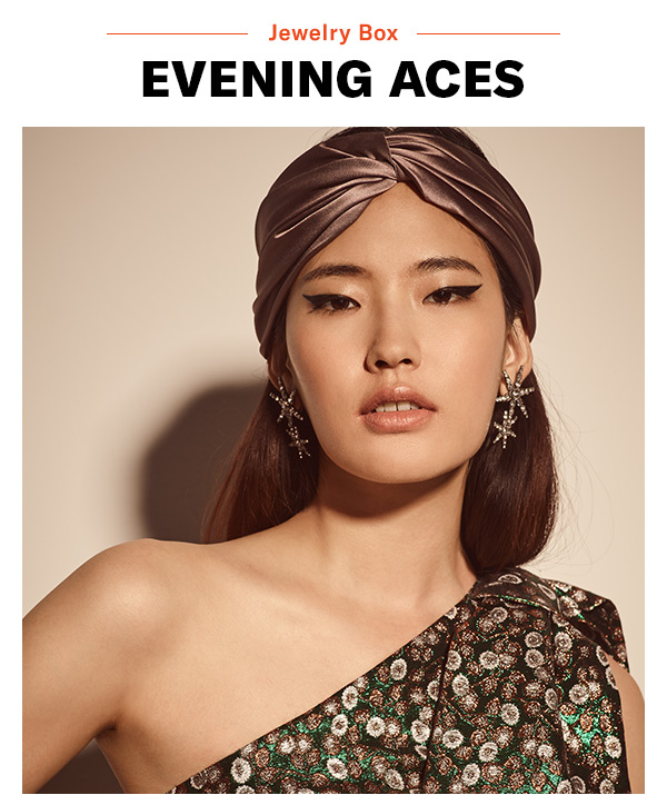 Jewelry Box: Evening Aces - Stunning earrings + chic headwrap = a modern twist on old-school glamour.