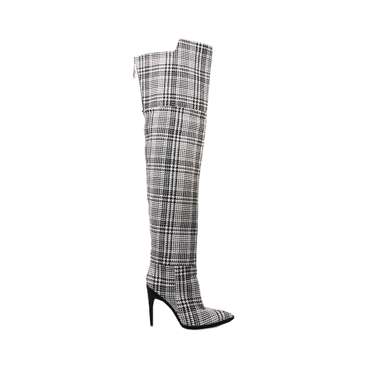Off-White Tartan Over-the-Knee Boots