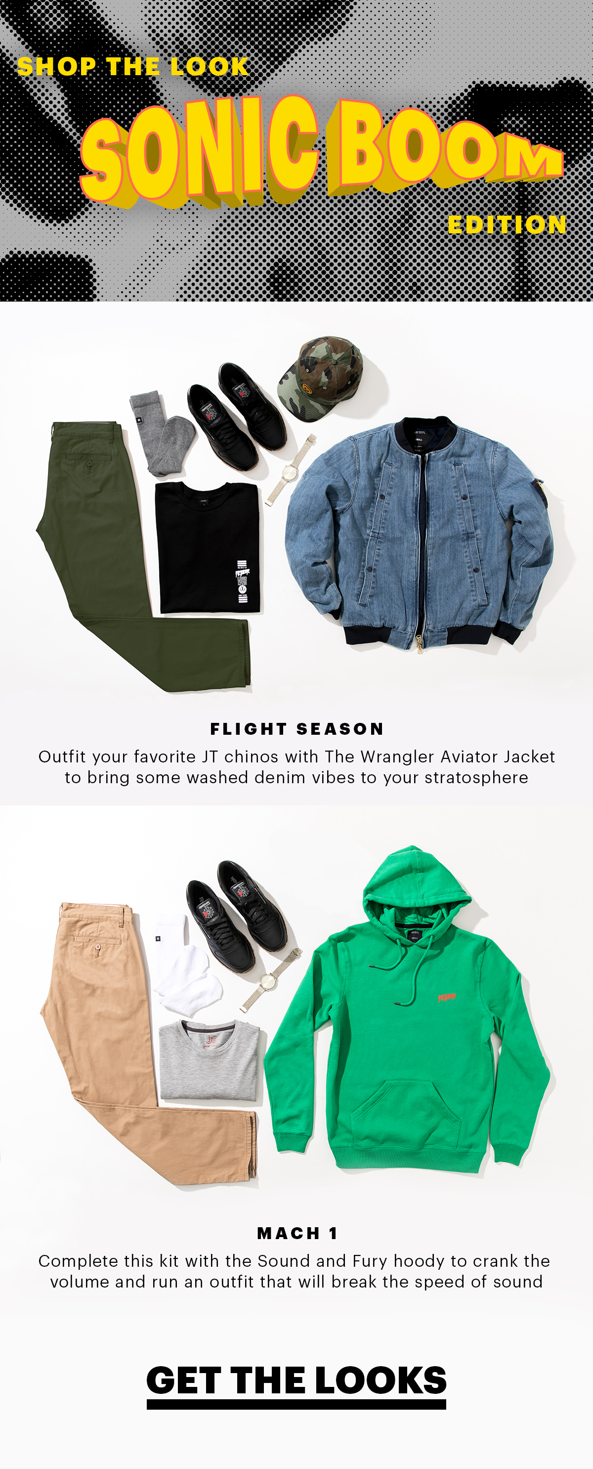 Shop the Look: Sonic Boom Edition | Flight Season: Outfit your favorite JT chinos with The Wrangler Aviator Jacket to bring some washed denim vibes to your stratosphere. | Mach 1: Complete this kit with the Sound and Fury hoody to crank the volume and run an outfit that will break the speed of sound | Get the Looks