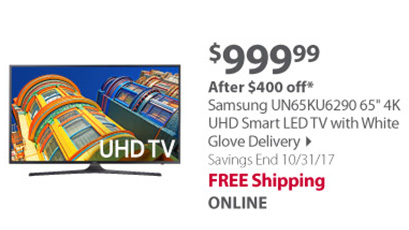 Samsung UN65KU6290 65 4K UHD Smart LED TV