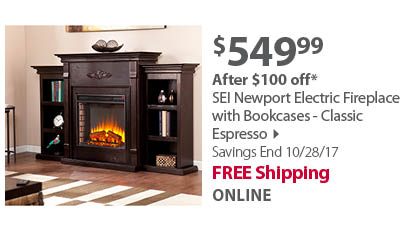 SEI Newport Electric Fireplace with Bookcases