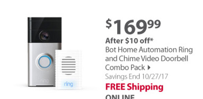 Bot Home Automation Ring and Chime Video Doorbell Combo Pack