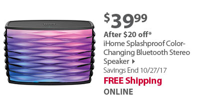 iHome Splashproof Color-Changing Bluetooth Stereo Speaker