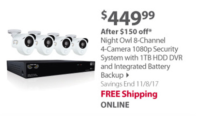 Night Owl 8-Channel 4-Camera 1080p Security System