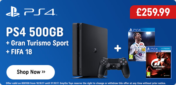 PS4 500GB Console with Gran Turismo Sport and FIFA 18