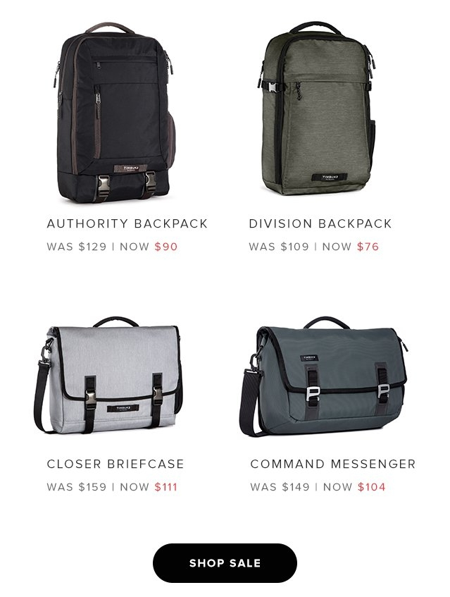 Authority Backpack – Was $129 now $90 | Division Backpack – Was $109 Now $76 | Closer Briefcase – Was $159 Now $111 | Command Messenger – Was $149 Now $104 | Shop Sale