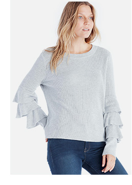 Shop 1.State Tiered Ruffle Sleeve Sweater