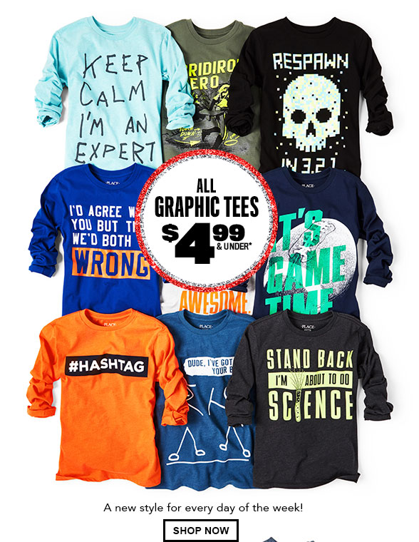 All Graphic Tees $4.99 & Under