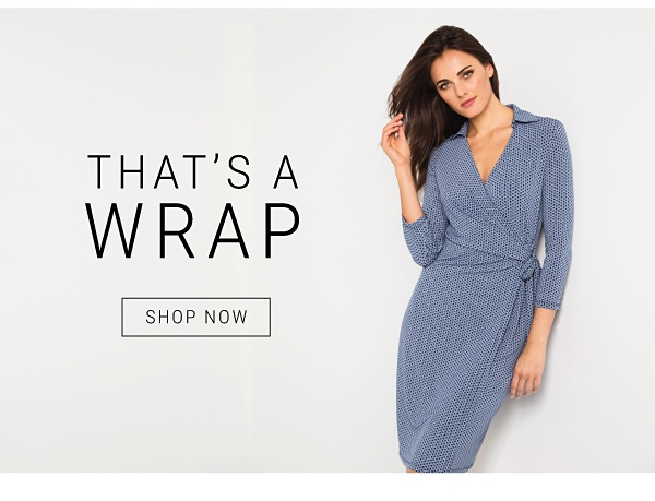 woman in blue wrap dress - that's a wrap