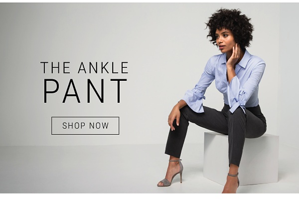 the ankle pant - blue blouse and grey pants