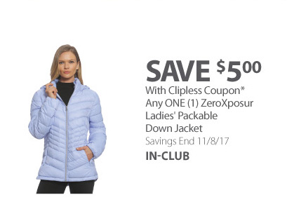 Any ONE (1) ZeroXposur Ladies' Packable Down Jacket