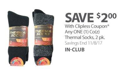 Any ONE (1) Co(z) Thermal Socks, 2 pk.