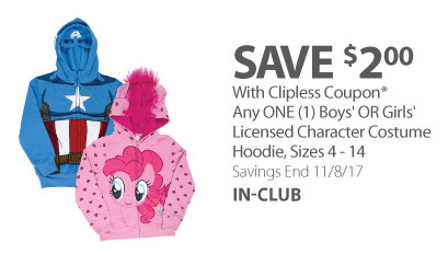 Any ONE (1) Boys' OR Girls' Licensed Character Costume Hoodie, Sizes 4-14