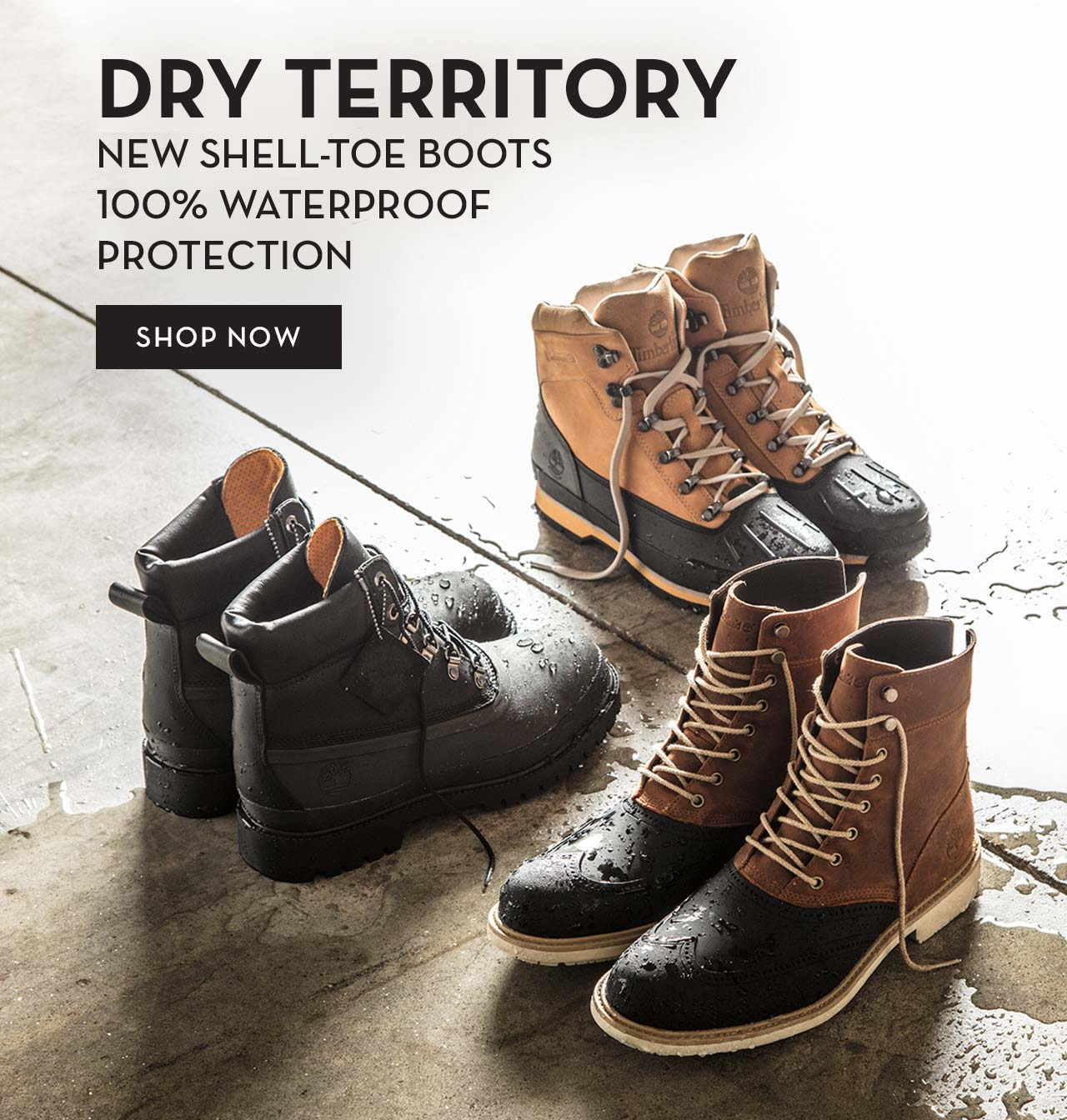 Dry Territory New Shell Toe Boots 100% Waterproof Protection Shop Now
