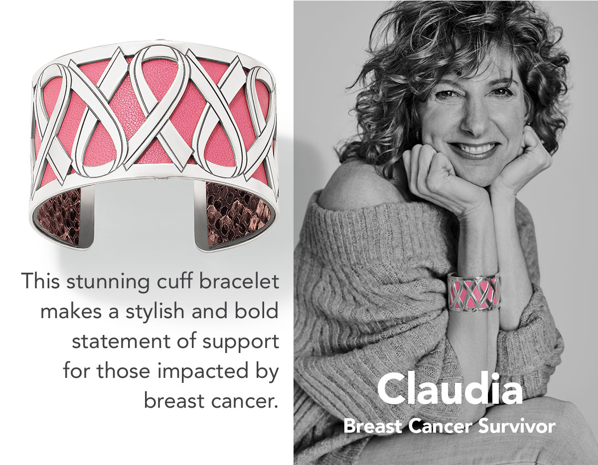 Claudia - Breast Cancer Survivor - This stunning cuff bracelet makes a stylish and bold statement of support for those impacted by breast cancer. - Shop the Power of Pink Christo Cuff