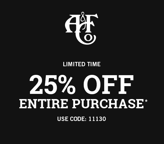 25% off entire purchase* Use Code: 11130