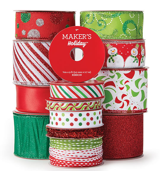 Holiday Ribbon, Bows and Decorative Mesh.