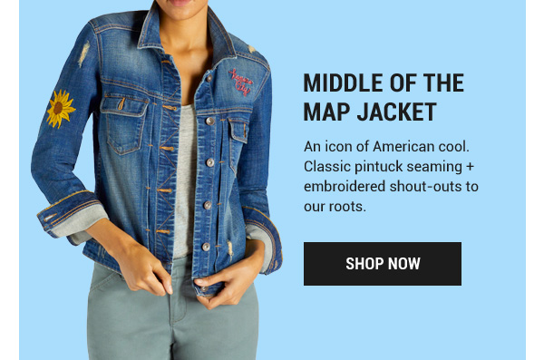 Middle of the Map Jacket. An icon of American cool. Classic pintuck seaming + embroidered shout-outs to our roots. Shop Now.