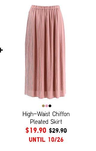 Women High-Waist Chiffon Pleated Skirt $19.90