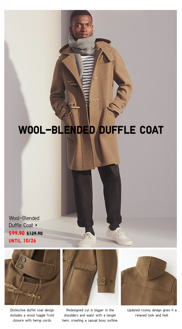 Men Wool-Blended Duffle Coat $99.90